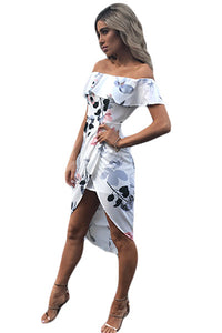 White Floral Ruffle Off Shoulder Wrap Boho Dress
