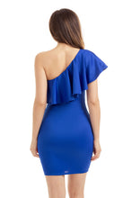 Blue One Shoulder Party Cocktail Mini Dress