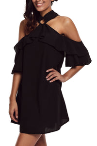 Black Adorable Sexy O Ring Detail Ruffle Dress
