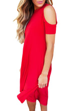 Red Cold Shoulder Short Sleeve High Low Dress