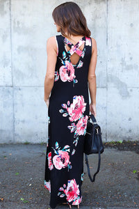Black Floral Pocketed Holiday Maxi Boho Dress