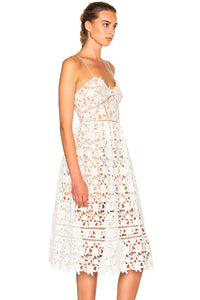 White Lace Hollow Out Nude Illusion Party Dress