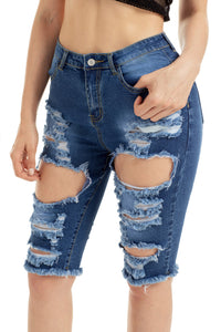 Blue Destroyed Frayed Hem Pocket Bermuda Denim Shorts