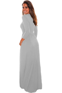 Grey Pocket Design 3/4 Sleeves Maxi Dress