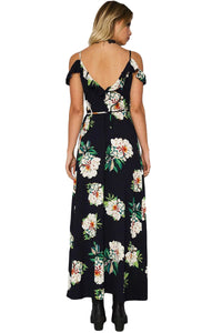 Black Frill Trim Could Shoulder Floral Dress