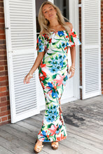 Chinese Painting Floral Print Off-the-shoulder Maxi Dress