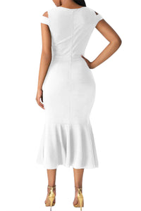 White Cold Shoulder Bow Detail Mermaid Dress