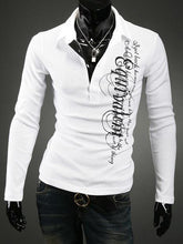 Letters Details Men's Long Sleeves Casual Polo Shirts