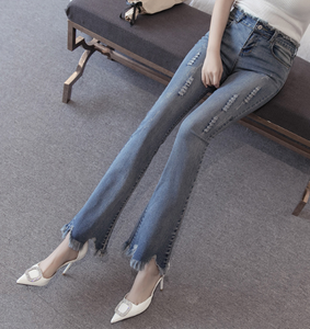 Ripped Bell Bottom Bootcut Fashion Denim Jeans for Women
