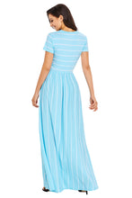 White Striped Light Blue Short Sleeve Maxi Dress