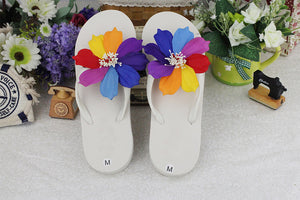 Colorful Cosmos Flip-flops Female Summer Candy Colored Flat Slippers Beach Sandals( 1 pair)