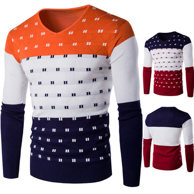 Men's Round Neck Sweater Casual Color Blocks Knitting Sweater