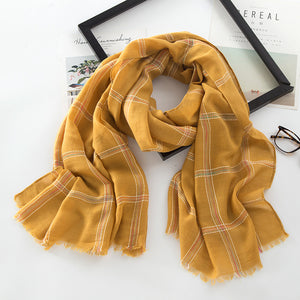 Autumn Winter Fashionable Cotton Linen Yarn-Dyed Colored Line Plaid Line Scarf