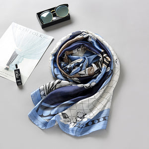Folk Style Print Small Square Anti-Sunshine Scarf Silk Scarf Female
