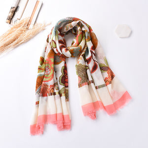 Women National Style Floral Printed Shawl Of Vintage Cotton Shawl Scarf