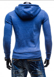 Solid Color Zipper Decorative Casual Hoodies for Men