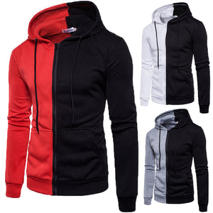 Fashion Two-color Stitching Zip up Closure Hoodies for Men