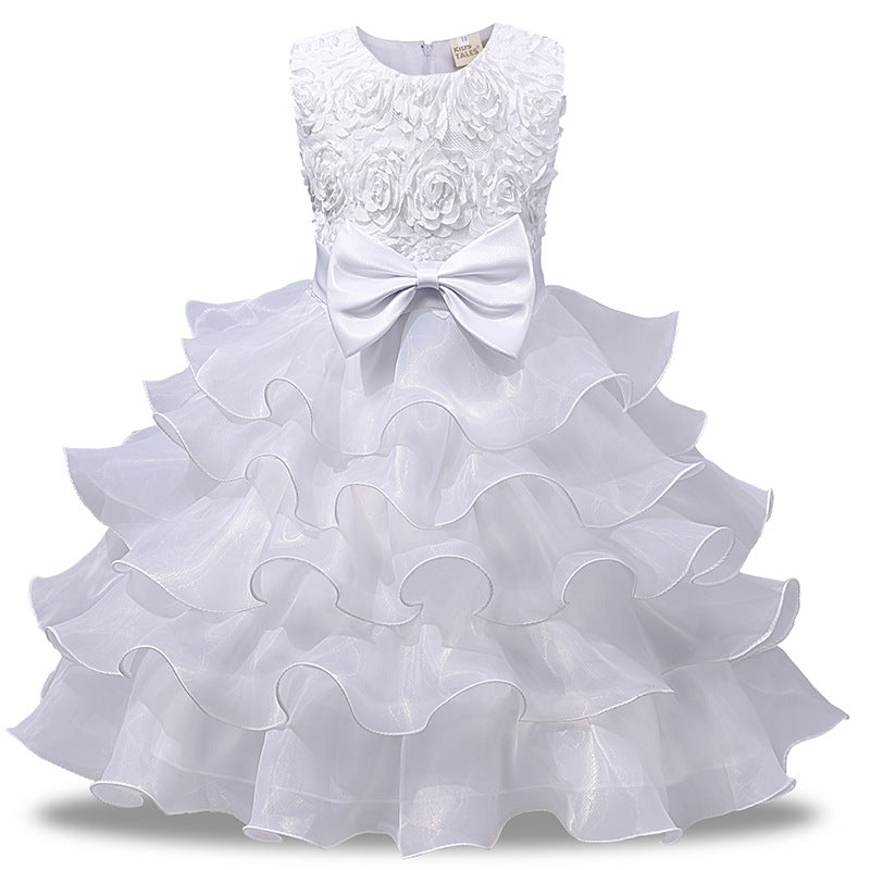 Children'S Solid Color Flower Dress Children Sleeveless Dress