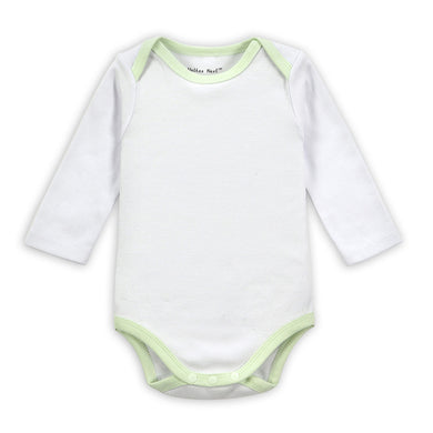 White Cotton Long-sleeved Onesies for Baby