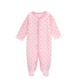 Pink-dotted Cotton Long-sleeved Footie for Baby