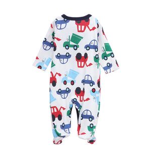 Colorful Car Pattern  Cotton Footie for Baby