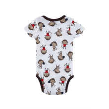 Short-sleeved Cartoon Printed Pattern Cotton Onesies Three Pieces