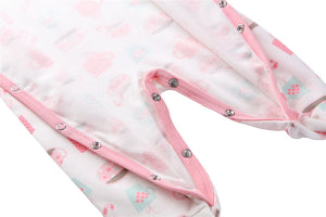 Pink Hidden Button Cotton Cartoon Footie for Baby