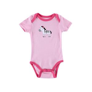Cute Pink Animal Pattern Summer Onesies for Baby