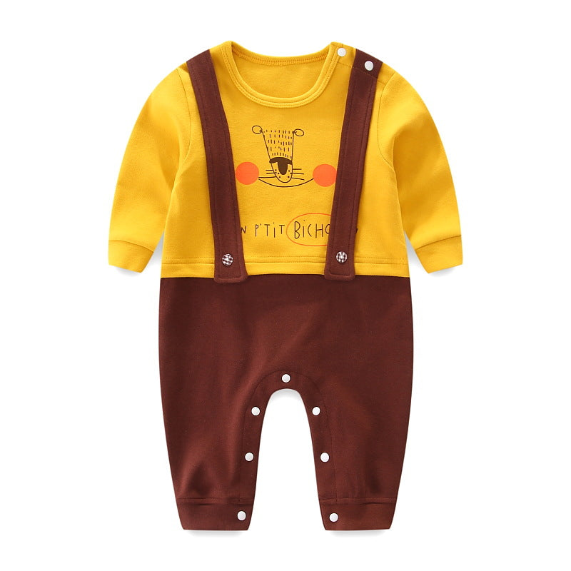 Autumn Baby Button Closure Crotch Cartoon Cotton Overalls Fake Two