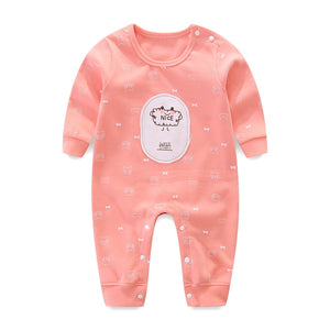 Autumn Cartoon Printed Pattern Candy Colors Long-sleeved Rompers for Baby