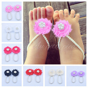 5 Pearl Diamond Flower Baby O Type Barefoot Shoes Diy Baby Shoes Summer Heat Sale Baby Photo Pin Ring