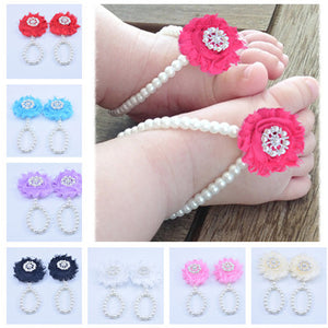 Single Lace Barefoot Shoes Decorated With 9 Pearls And A Real Foot Ring Flower Diy Baby Shoes