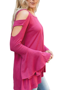 Rosy Open Shoulder Bell Sleeve Top
