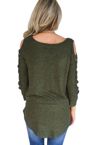 Army Green Hollow-out Crisscross Shoulder Top for Women
