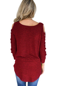 Red Hollow-out Crisscross Shoulder Top for Women