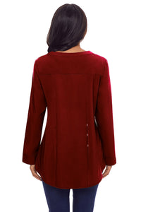 Red Lace Panel Split Neck Roll Tab Sleeve Blouse