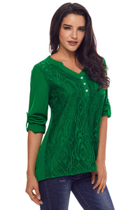 Green Lace Panel Split Neck Roll Tab Sleeve Blouse