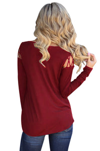 Burgundy Crisscross Cold Shoulder Long Sleeve Shirt