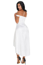 White High-shine High-low Party Evening Dress