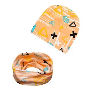 Cartoon Round Baby Hat + Thick Baby Bibs Children kids baby Accessories cute baby boys girls cap kids bibs