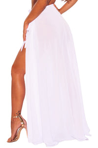 White Sheer Wrap Maxi Beach Skirt