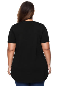 Black Plus Size Pin Tuck Jersey Top