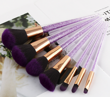 7Pcs Purple Crystal Makeup Brush Set Diamond Highlighter Brushes Concealer Make Up Brush Gift Beauty Tool