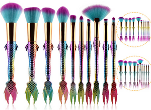 10Pcs Mermaid Make Up Brush Set Foundation Eyeshadow Contour Eye Lip Brush Colorful Beauty Fishtail Rainbow Makeup Brushes