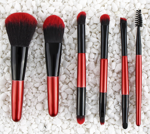 New Red Powder Foundation Makeup Brushes 6pcs/Set Pro Eye Shadow Eyebrow Blush Contour Lip Brushing Brush Cosmetic Make Up Tools 2pcs Double End