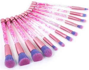 12pcs Rhinestone Glitter Crystal Makeup Brush Set Diamond Pro Highlighter Brushes Concealer Make Up Brush Mermaid Brush Gift
