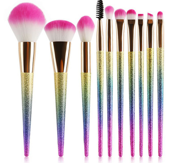 10Pcs/Set Makeup Brushes Set Powder Foundation Contour Brush Eyeshadow Eyeliner Lip Brush Tool Kit Gradient color Make Up Brush