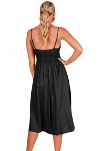 Black Sexy Backless Tie Front Button Skirt Midi Dress  Backless Midi Dress Black Sexy Backless Tie Front Button Skirt Midi Dress