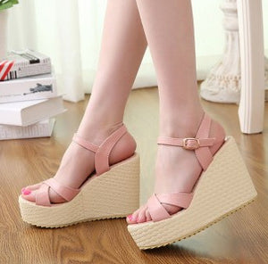 Thick Heels PU Leather Wedge Platform Sandals