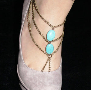 European And American Fashion Handmade Beaded Turquoise Foot Chain Multi-Layer Tassel Toe Chain